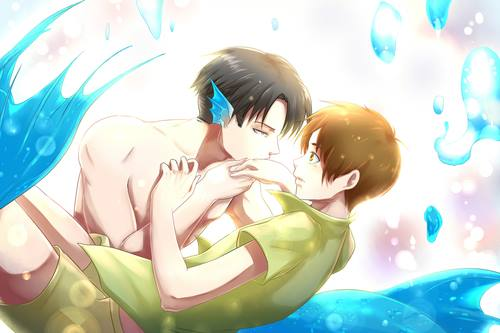 Yaoi wallpaper possibly containing a hot tub titled Levi x Eren