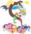 MLP Fanart Mane Six Spike the Cutie Mark Crusaders and Discord Preparing to Battle