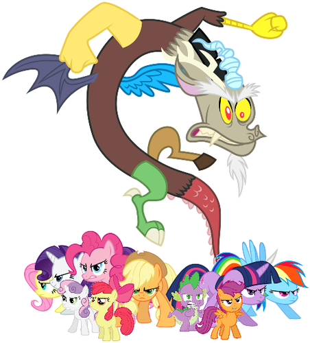 my little pony friendship is magic wallpaper possibly with anime called MLP Fanart Mane Six Spike the Cutie Mark Crusaders and Discord Preparing to Battle
