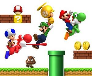 Mario Luigi Blue Toad Yellow Toad and Yoshi