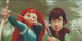 Disney•Pixar Fan Art - Princess Merida & Hiccup - walt-disney-characters fan art