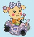 Miss La Sen driving car - random photo