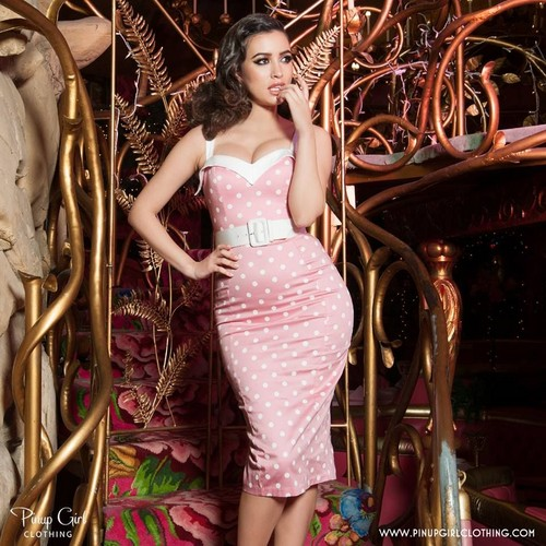 Christian Serratos fond d'écran probably containing a dîner dress, a cocktail dress, and a strapless entitled Pinup Girl Clothing Photoshoot ~ 2015