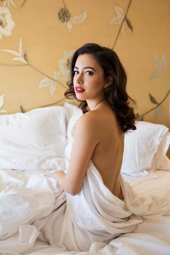 Christian Serratos achtergrond entitled Playboy 'Becoming Attraction' ~ 2015