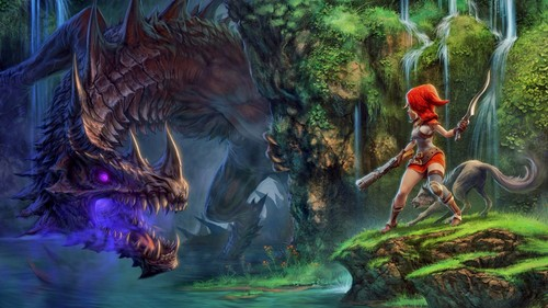 dragons fond d'écran entitled Red Riding capuche, hotte vs. the Dragon