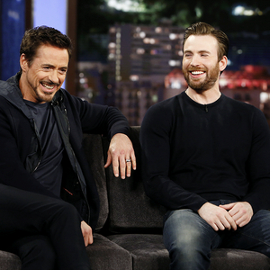 Robert Downey Jr. and Chris Evans visit 'Jimmy Kimmel Live' on November 24, 2015.