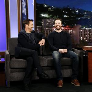 Robert Downey Jr. and Chris Evans visit 'Jimmy Kimmel Live' on November 24, 2015.
