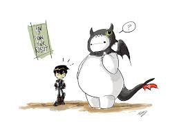 Starring Hiro Hamada as Hiccup and Baymax as Toothless