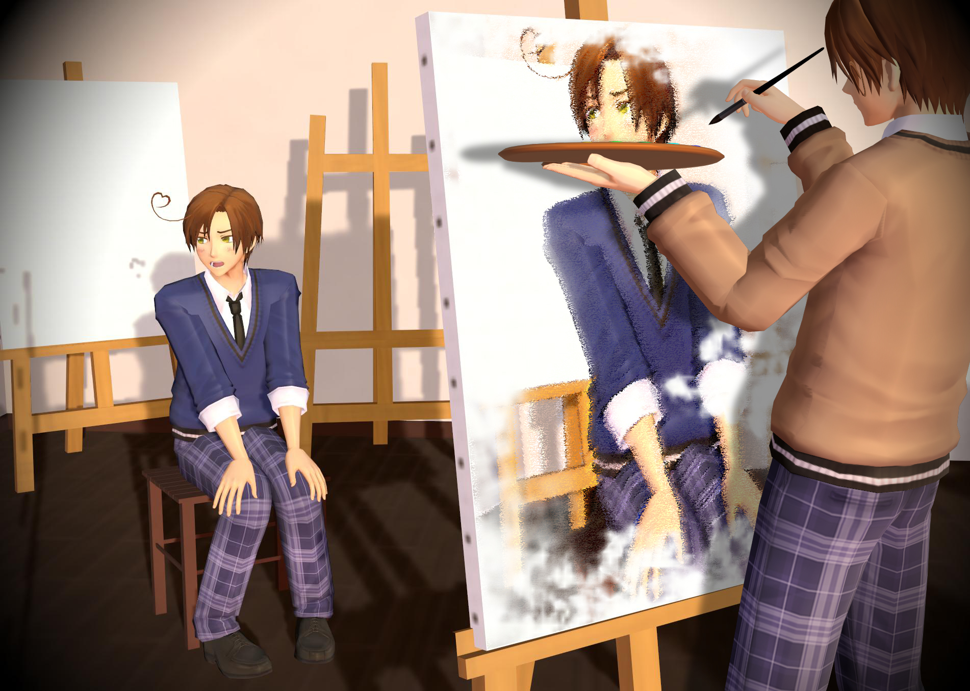 Stay Still. Feli painting Romano. This is Itacest too.