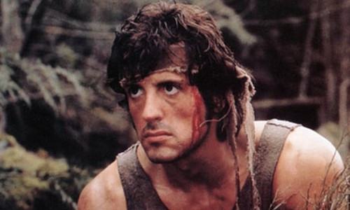 Sylvester Stallone پیپر وال probably containing a hunk کے, hunk and a portrait titled Sylvester Stallone - First Blood