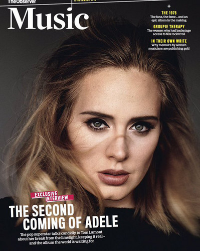 Adele Hintergrund containing a portrait and Anime entitled The Observer Musik magazine Cover