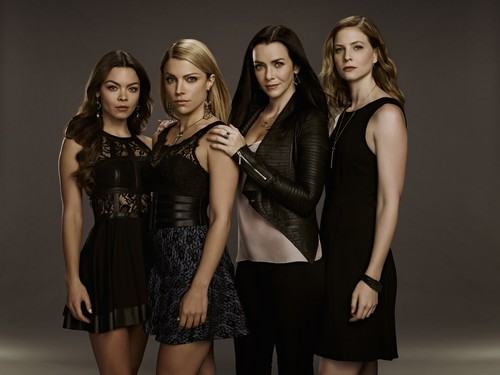 the vampire diaries série de televisão wallpaper possibly with bare legs and a hip boot titled The Vampire Diaries Nora, Mary Louise, Lily and Valerie Season 7 Official Portrait