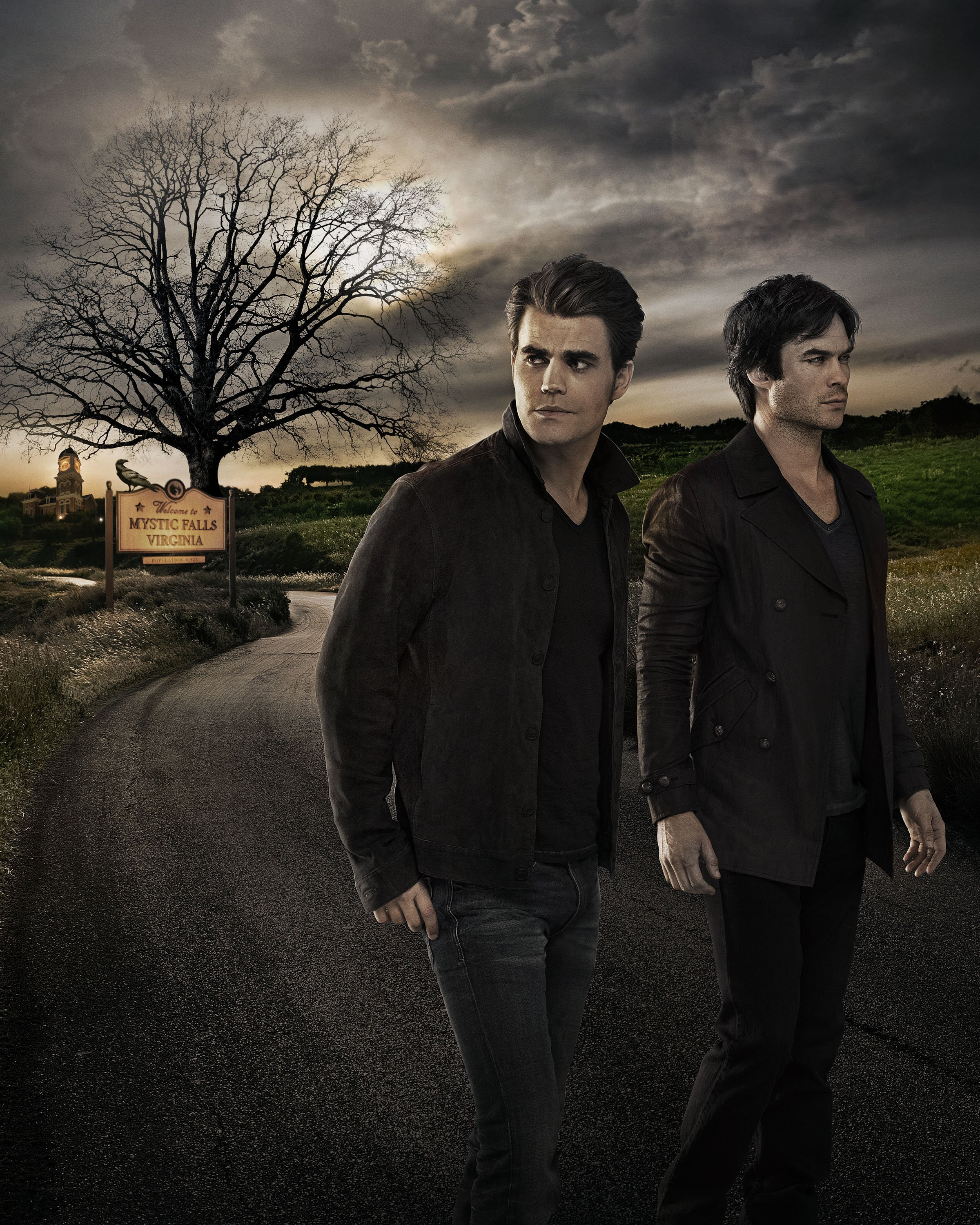 The Vampire Diaries Stefan and Damon Salvatore Season 7 Official Portrait