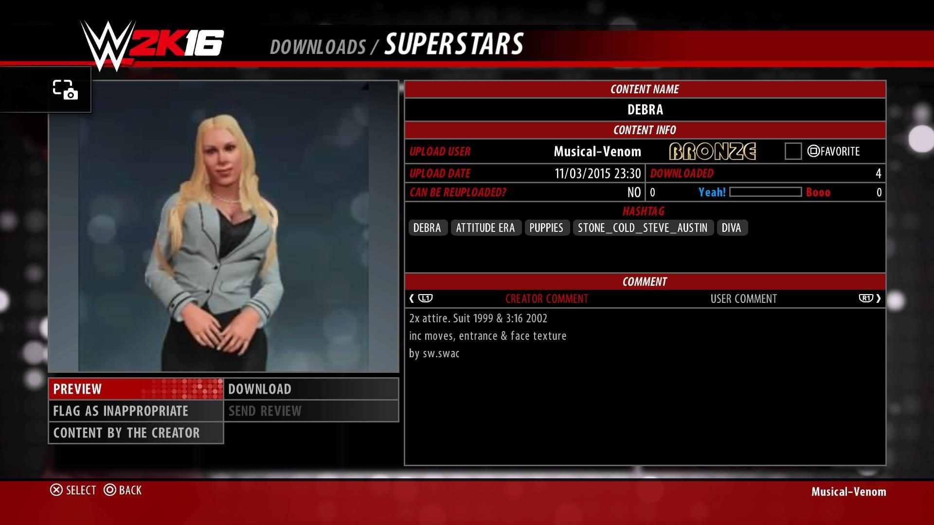 WWE 2K16: Debra (PS4)
