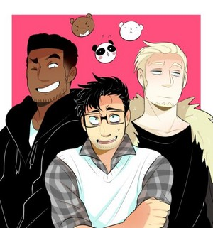 We Bare Bears' Grizzly, Panda and Ice ours in human form