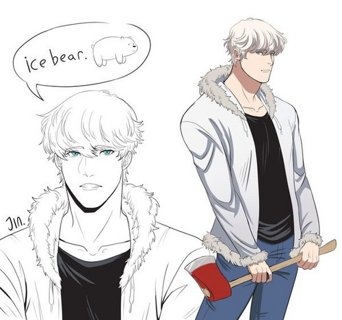 We Bare Bears karatasi la kupamba ukuta titled We Bare Bears' Ice kubeba ( Humanised )