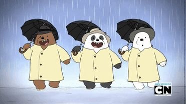 We Bare Bears karatasi la kupamba ukuta possibly containing anime called We Bare Bears imba in the Rain