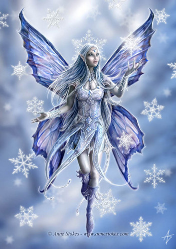 Elfen Hintergrund titled Winter Fairy