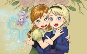 Young Anna and Elsa