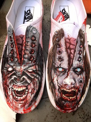 hand painted zombie kicks by dannyps customs