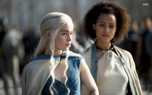 Game of Thrones Hintergrund possibly with an outerwear entitled Daenerys and Missandei