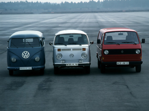 Volkswagen fond d'écran possibly with a hatchback, a minicar, and a sport utility called 1949 T1 prototype with T2 and T3
