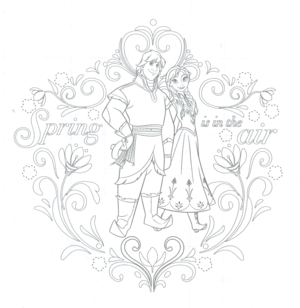 Anna and Kristoff coloring page
