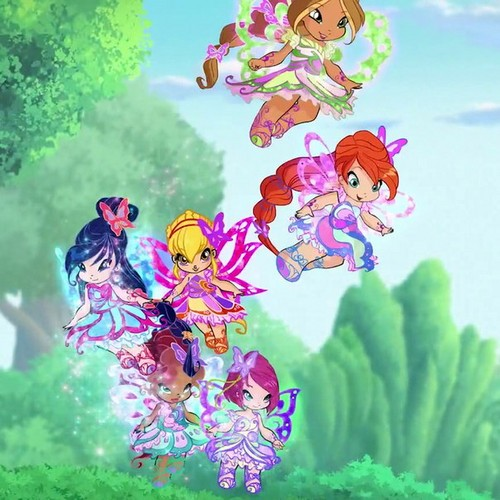 Winx Club karatasi la kupamba ukuta possibly containing a foxglove, a japanese apricot, and a mountain laurel entitled Baby Winx!