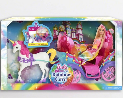 Sinema za Barbie karatasi la kupamba ukuta entitled Barbie:Dreamtopia upinde wa mvua Cove Carriage