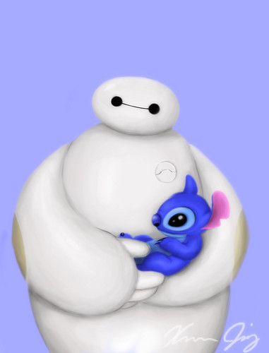 Big Hero 6 wallpaper entitled Baymax and Stitch