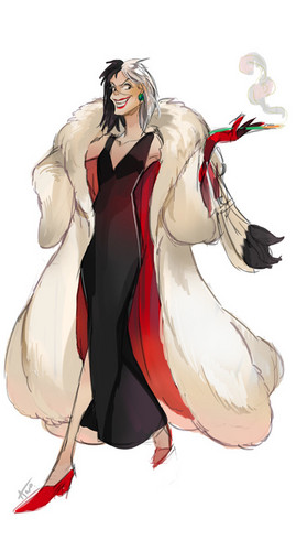 Childhood Animated Movie Villains Hintergrund called Cruella De Vil