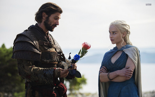 Game of Thrones wallpaper possibly containing a green beret called Daario and Daenerys