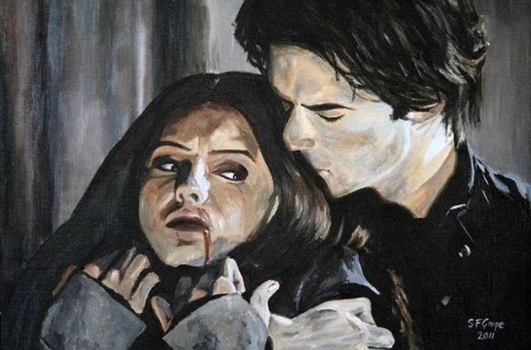 Damon elena painting 1x13