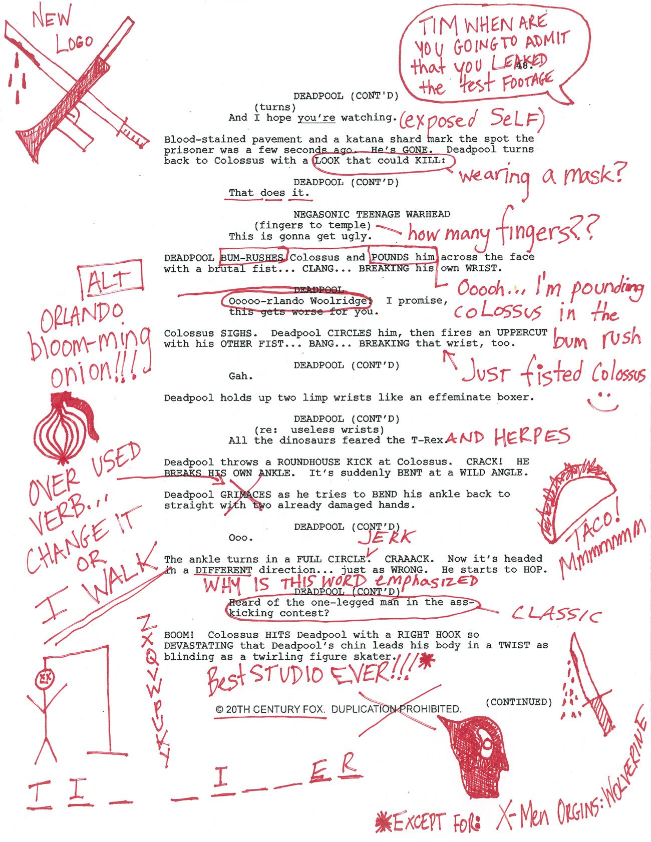 Deadpool's Script Notes