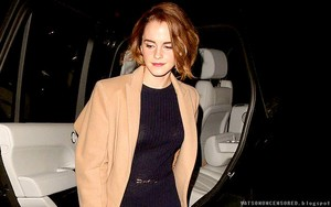 Emma leaving the screening of The True Cost