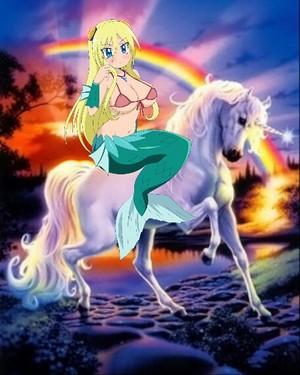 Fuji san riding her Beautiful Unicorn