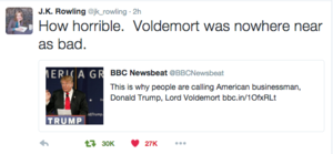 JK Rowling: Trump is worse than Voldemort