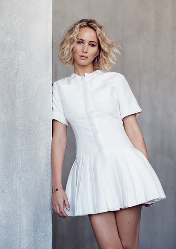 Jennifer Lawrence wallpaper possibly containing a cocktail dress, a chemise, and a chemise entitled Jennifer Lawrence - Elle Malaysia Photoshoot - January 2016