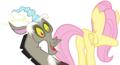 MLP Fanart Discord Looking at Fluttershy s Butt - discord-my-little-pony-friendship-is-magic fan art