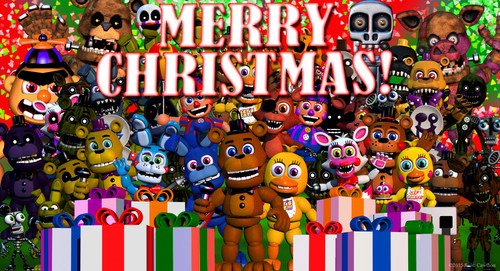 Five Nights at Freddy's kertas dinding titled Merry Krismas - Fnaf world.jpg