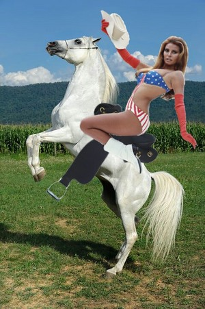 Myra Breckinridge rides her beautiful white coursier, steed