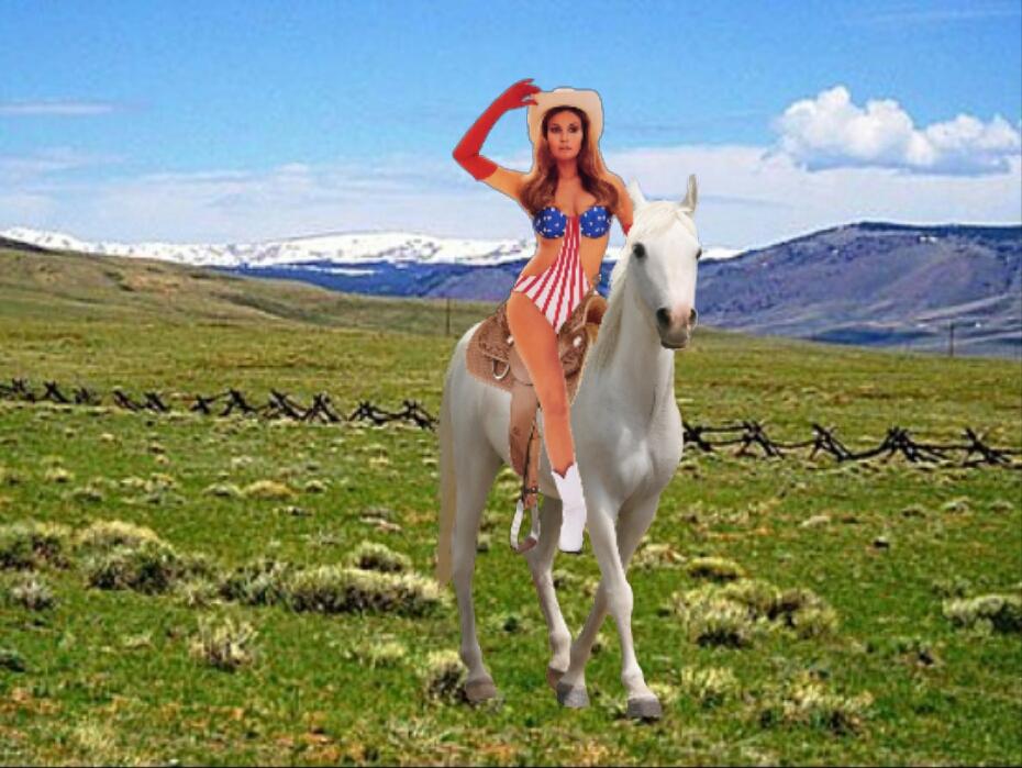 Myra Breckinridge riding her beautiful white horse