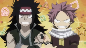 Natsu and Gajeel Doing Their Stubborn Thing