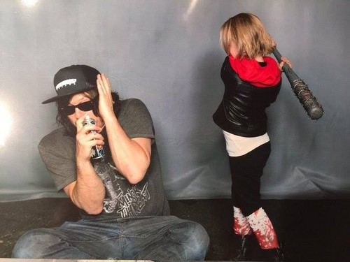 The Walking Dead Hintergrund probably containing a hip boot entitled Norman getting Lucilled Von Baby!Negan