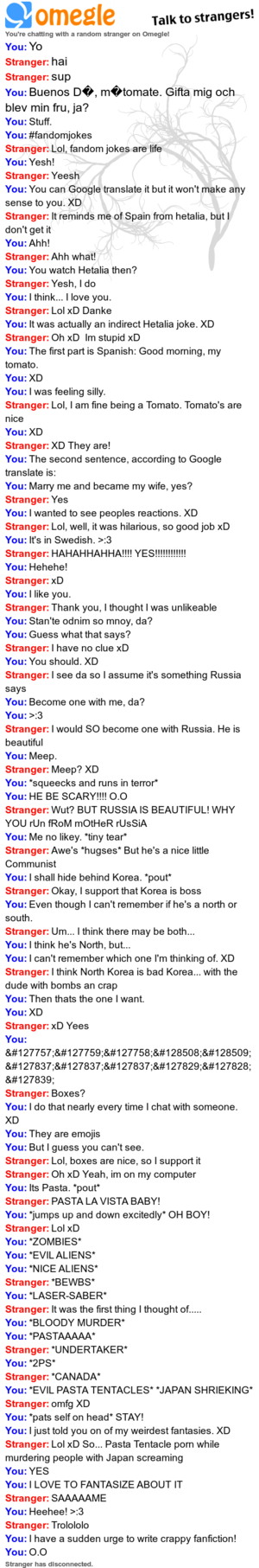 One of my paborito Omegle chats