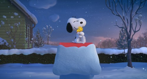 Peanuts wallpaper probably with a snowbank, an igloo, and a paper towel titled Snoopy and Woodstock