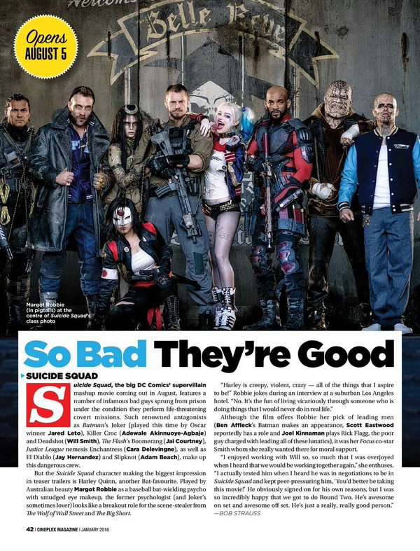 So Bad They're Good - Suicide Squad in Cineplex Magazine, January 2016.