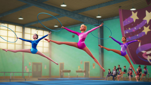 Barbie فلمیں پیپر وال possibly with a جمناسٹ, گیمناسٹ and a balance beam titled Spy Squad Still - Champion Gymnasts
