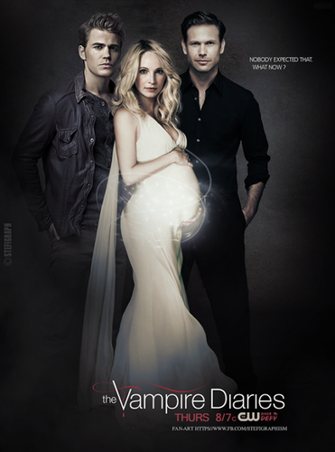 The Vampire Diaries wallpaper containing a bridesmaid and a toga, abito called Stefan, Caroline and Alaric