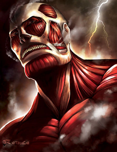 Shingeki no kyojin attack on titan gambar the colossal titan hd shingeki no kyojin attack on titan wallpaper titled the colossal titan voltagebd Image collections
